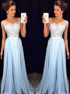 Sheer Neck Sleeveless Lace Applique Prom Dresses Cheap Evening Dresses - EVERISA