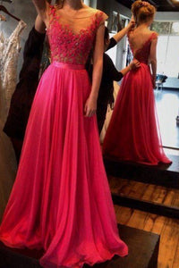 Scoop Neck Sleeveless Backless A Line Prom Dresses Long Evening Dresses