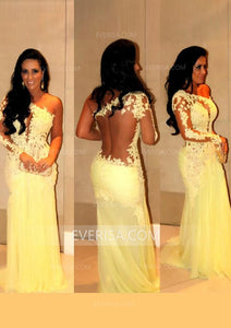 Yellow Slim Line One Shoulder Lace Evening Dresses Cheap Prom Dresses - EVERISA