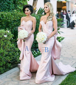 Pink Sweetheart Sleeveless Mermaid Bridesmaid Dresses Long Prom Dresses - EVERISA
