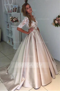 Simple Half Sleeves Lace A Line Wedding Dresses Cheap Bridal Gown - EVERISA