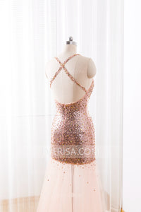 Sexy Sweetheart Sequin Prom Dresses Cross Back Long Evening Dresses - EVERISA