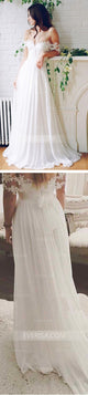 White Off Shoulder Backless A Line Bridal Gown Long Wedding Dresses - EVERISA