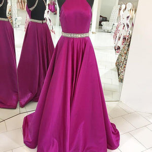 High Neck Sleeveless Backless Evening Dresses Cheap Prom Dresses With Rhinestones - EVERISA