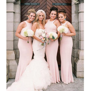 Pink Sleeveless Slim Line Affordable Bridesmaid Dresses Long Evening Dresses - EVERISA