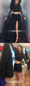 Two Pieces Long Sleeveless Lace Prom Dresses Cheap Evening Dresses
