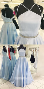Blue Sleeveless Backless A-Line Prom Dresses Cheap Evening Dresses - EVERISA