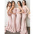 Blush Pink Straps Sleeveless Slim Line Long Bridesmaid Dresses Cheap Evening Dresses - EVERISA