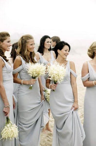 Simple Off Shoulder Empire Bridesmaid Dresses Affordable Prom Dresses - EVERISA