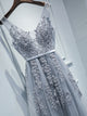Grey V Neck Sleeveless Lace Applique Prom Dresses A Line Evening Dress