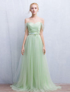 Green Off Shoulder Backless Long Prom Dresses Cheap Bridesmaid Dresses - EVERISA