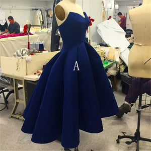 Navy Blue Sleeveless Backless High Low Prom Dresses Affordable Evening Dresses - EVERISA