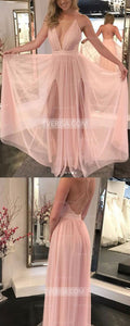 Blush Pink V Neck Cross Back Split Prom Dresses Long Evening Dresses - EVERISA