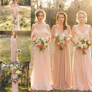 Different Style Blush Pink Chiffon Bridesmaid Dresses Long Prom Dresses With Sleeveless - EVERISA