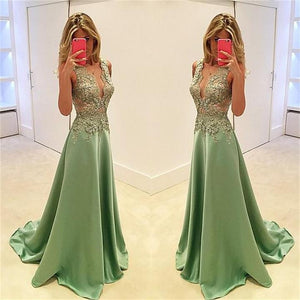 Green Deep V Neck Sleeveless A Line Evening Dresses Affordable Prom Dresses