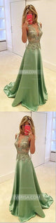 Green Deep V Neck Sleeveless A Line Evening Dresses Affordable Prom Dresses - EVERISA