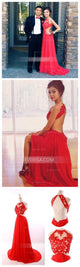 Simple Red Sleeveless Backless Chiffon Evening Dresses Cheap Prom Dresses - EVERISA