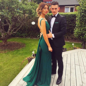 Elegant Scoop Neck Sleeveless Sheath Prom Dresses Long Evening Dresses - EVERISA