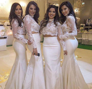 Two Pieces Long Sleeves Mermaid Bridesmaid Dresses Long Prom Dresses