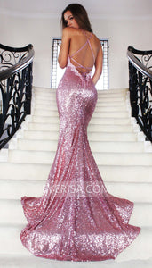 Rose Gold Cross Back Mermaid Evening Dresses Sequin Prom Dresses With Sleeveless