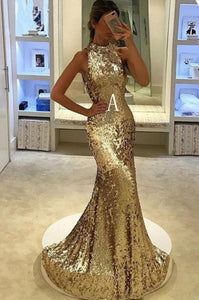 Gold/Sliver High Neck Sleeveless Sequin Evening Dresses Long Prom Dresses - EVERISA