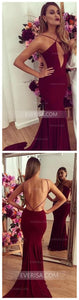 Burgundy Sleeveless Open Back Satin Prom Dresses Long Evening Dresses - EVERISA