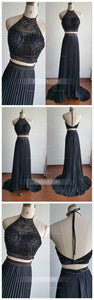 Two Pieces Halter Sleeveless Open Back Prom Dresses Beading Evening Dresses
