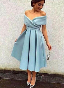 Blue Off Shoulder Empire Satin Homecoming Dresses Short Prom Dresses - EVERISA