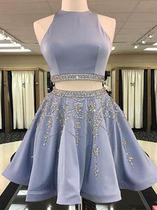 Lavender Two Pieces Sleeveless Beaded Prom Dresses Short Homecoming Dresses - EVERISA