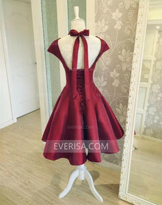 Burgundy Sweetheart Cap Sleeves A Line Prom Dresses Short Homecoming Dresses - EVERISA