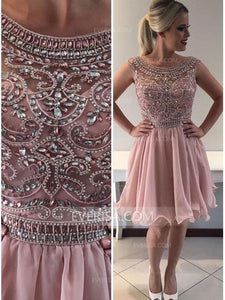 Scoop Neck V Back Cocktail Dresses Cheap Homecoming Dresses With Rhinestone Beaded
