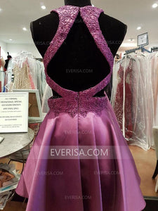 Purple Open Back Lace Homecoming Dresses Affordable Cocktail Dresses - EVERISA