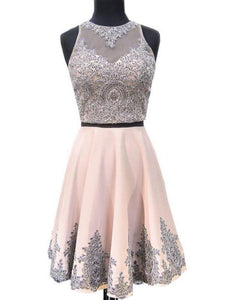 Pink Two Pieces Sleeveless A Line Homecoming Dresses Cheap Cocktail Dresses - EVERISA