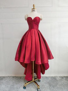 Burgundy Sweetheart High low Homecoming Dresses Cheap Cocktail Dresses - EVERISA