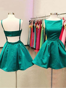 Green Sleeveless Open Back Short Homecoming Dresses A Line Cocktail Dresses - EVERISA