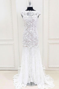White Scoop Neck Sleeveless Lace Evening Dresses Affordable Prom Dresses