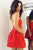 Red Sleeveless Cross Back Satin Homecoming Dresses Affordable Cocktail Dresses