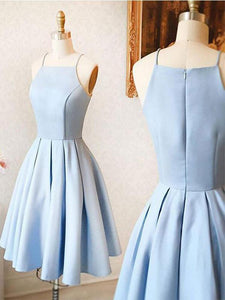 Elegant Blue Spaghetti Straps A Line  Homecoming Dresses Affordable Cocktail Dresses - EVERISA