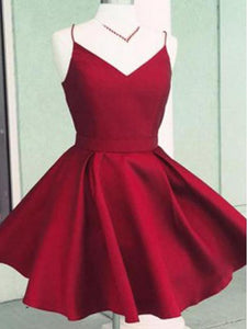 Burgundy V Neck Backless Cheap Homecoming Dresses Short Cocktail Dresses With Bow - EVERISA