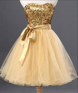 Gold Sweetheart Sleeveless A Line Cocktail Dresses Cheap Homecoming Dresses - EVERISA
