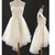 White Sweetheart High Low Homecoming Dresses Affordable Cocktail Dresses With Bow - EVERISA