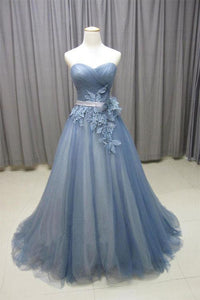 Blue Sweetheart Sleeveless Tulle Prom Dresses Long Evening Dresses With Lace Applique