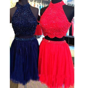 Two Pieces Open Back Halter Homecoming Dresses Affordable Cocktail Dresses With Beaded