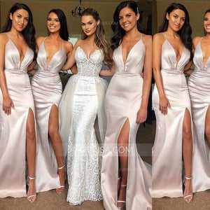 Sexy Halter Deep V Neck Side Slit Long Bridesmaid Dresses Slim Line Prom Dresses - EVERISA