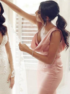 Sexy Pink Sleeveless Side Slit Bridesmaid Dresses Long Prom Dresses - EVERISA