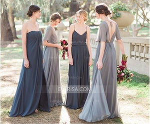 Different Style Chiffon Long Bridesmaid Dresses Inexpensive Prom Dresses - EVERISA