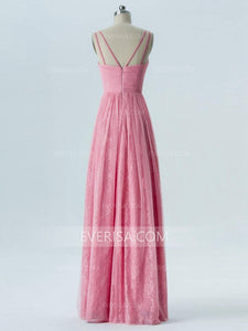 Pink V Neck Sleeveless Affordable Bridesmaid Dresses Long Prom Dresses - EVERISA