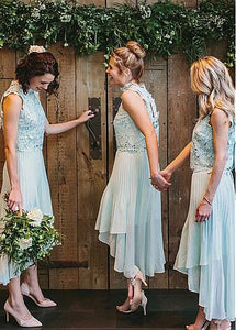Blue High Neck Sleeveless Chiffon Bridesmaid Dresses Cheap Prom Dresses - EVERISA