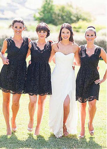Black Lace V Neck Sleeveless Affordable Bridesmaid Dresses Short Cocktail Dresses - EVERISA