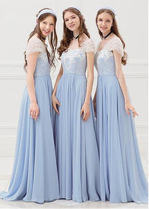 Blue Sweetheart Cap Sleeves A-line Bridesmaid Dresses Long Prom Dresses - EVERISA